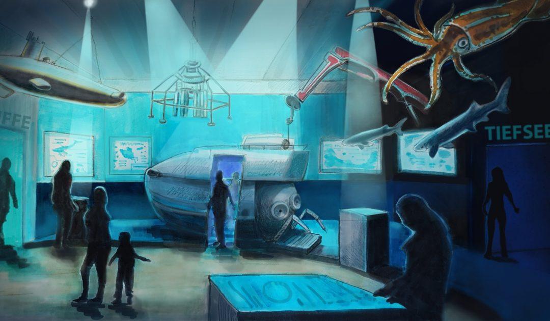 Neues Museum Zeichnung Meeresforschung